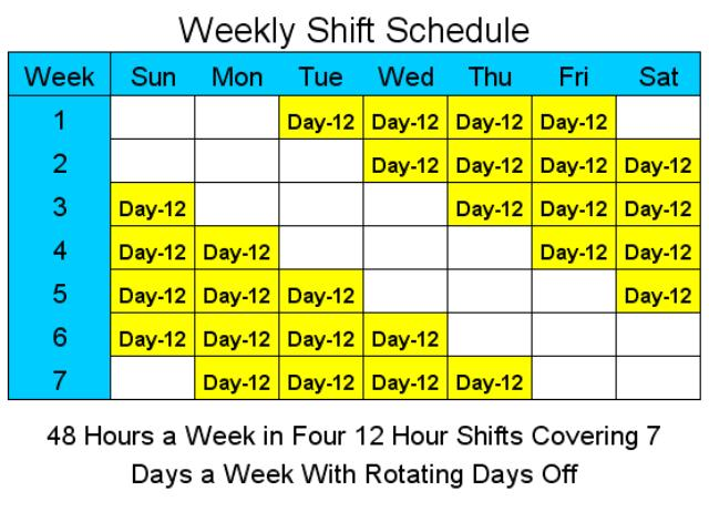 12 hour rotating shift schedule. Black Bedroom Furniture Sets. Home Design Ideas