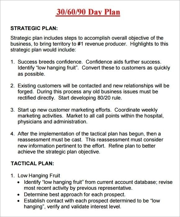30 60 90 Day Sales Plan Template Examples | crescentcollege.org