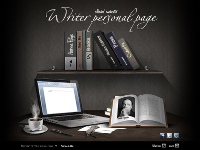 Writer personal page website template easy flash   Tonytemplates