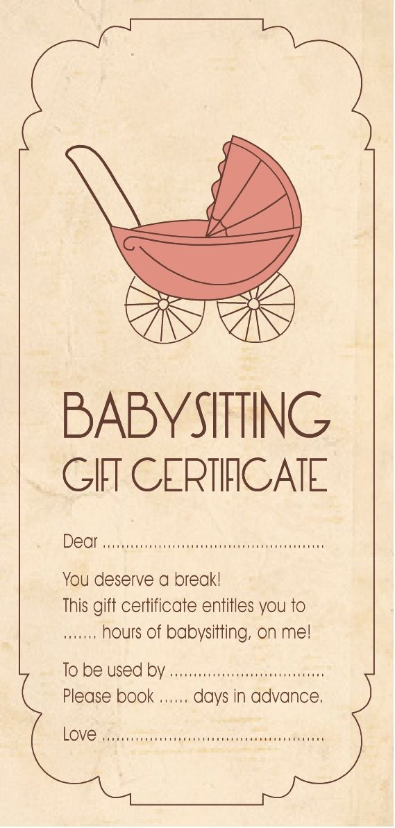 gift certificate for babysitting | Gift Ideas | Pinterest