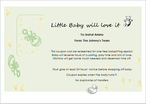 Babysitter Gift Certificate Template for WORD | Document Hub