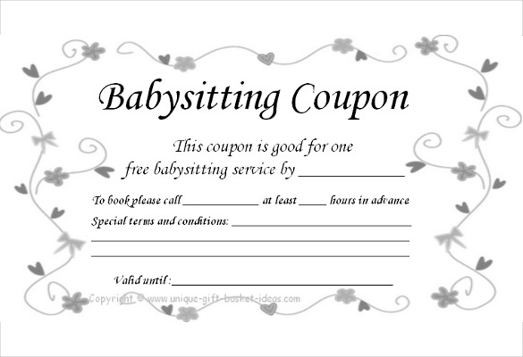 babysitting gift certificate template ba sitting coupon template