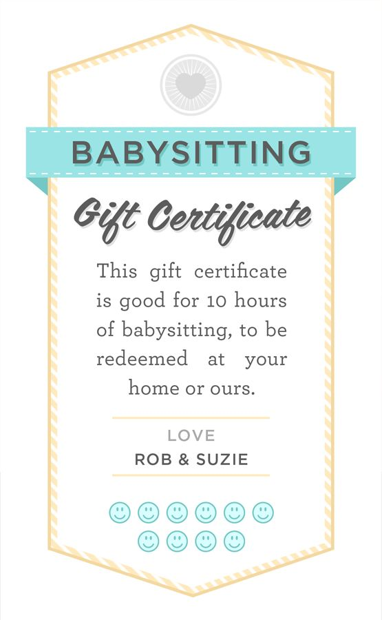 Babysitting gift certificate download   fully customizable PSD or