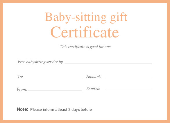 editable printable doc Babysitting Gift Certificate Template