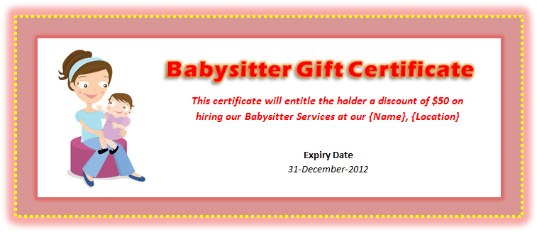 free babysitting gift certificate template basitting voucher