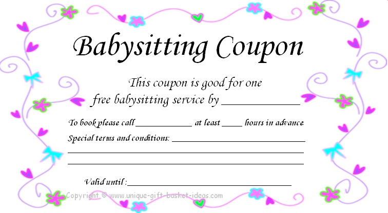 free babysitting gift certificate template free downloadable