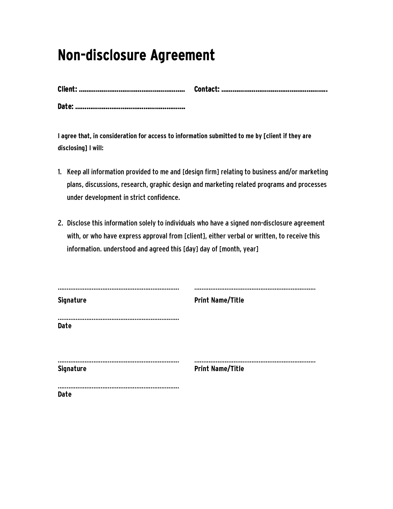 Basic Non Disclosure Agreement Pdf 0 – down town ken more