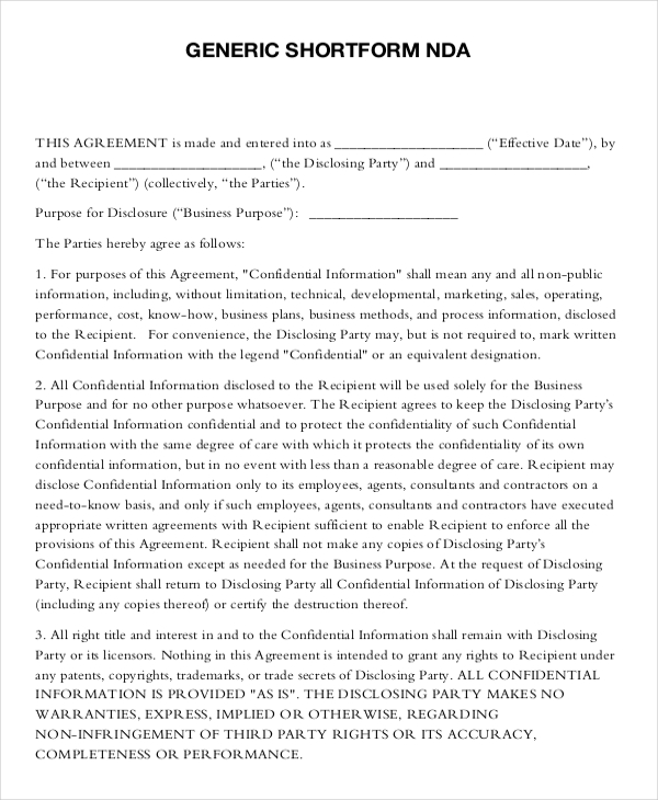 disclosure agreement template non disclosure agreement free