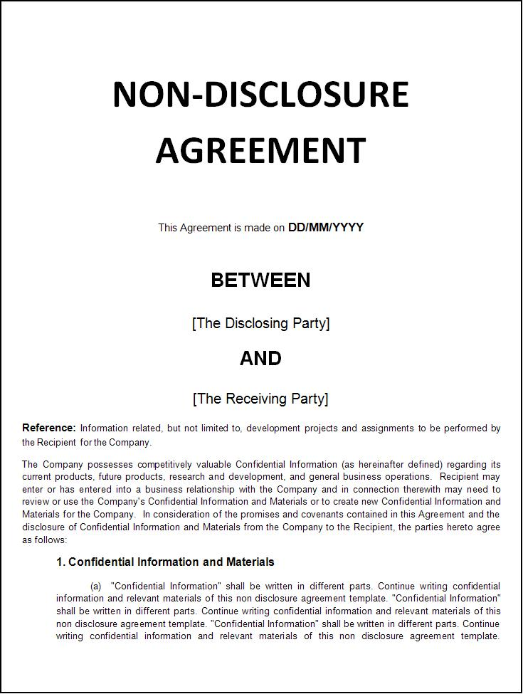 non disclosure agreement nda template business non disclosure