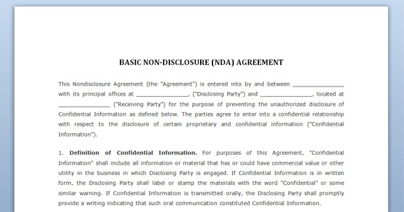 non disclosure agreement nda template free confidentiality