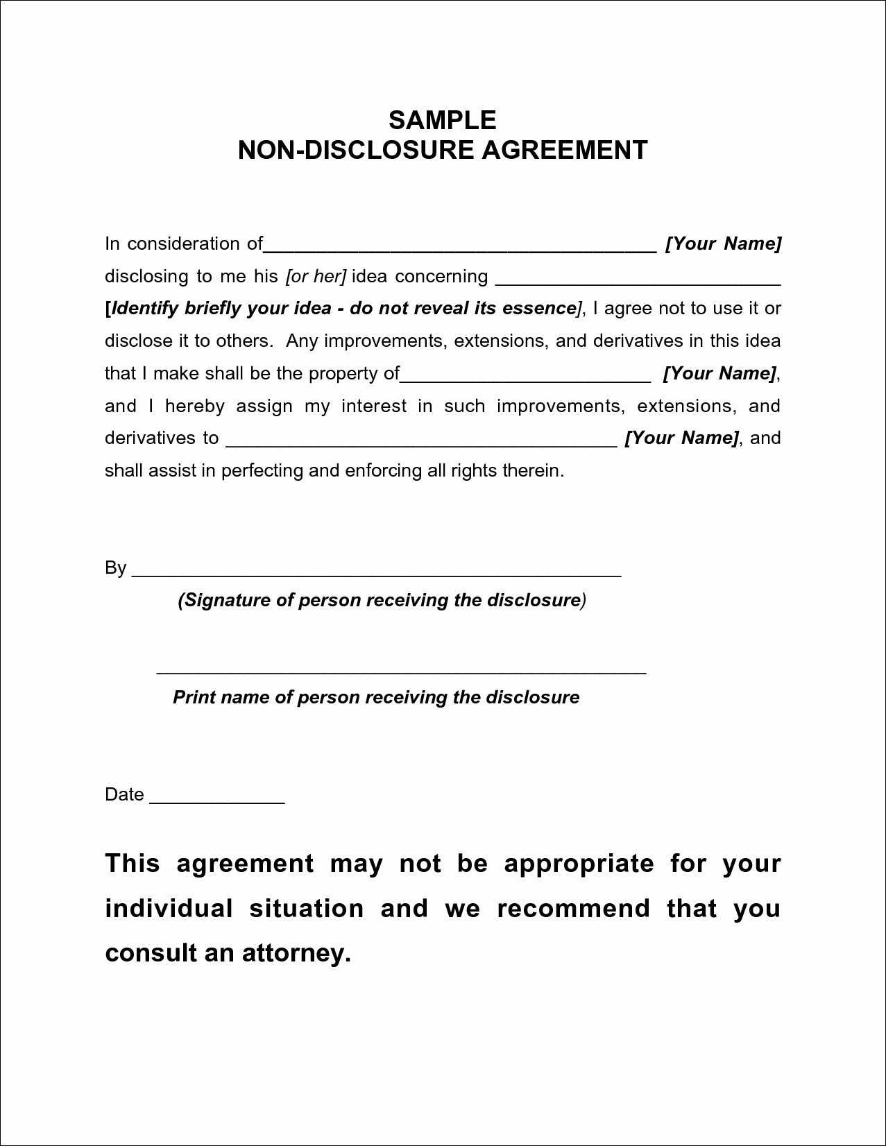 Non Disclosure Agreement Templates Word