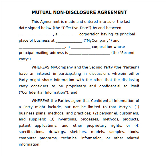 patent non disclosure agreement template patent non disclosure