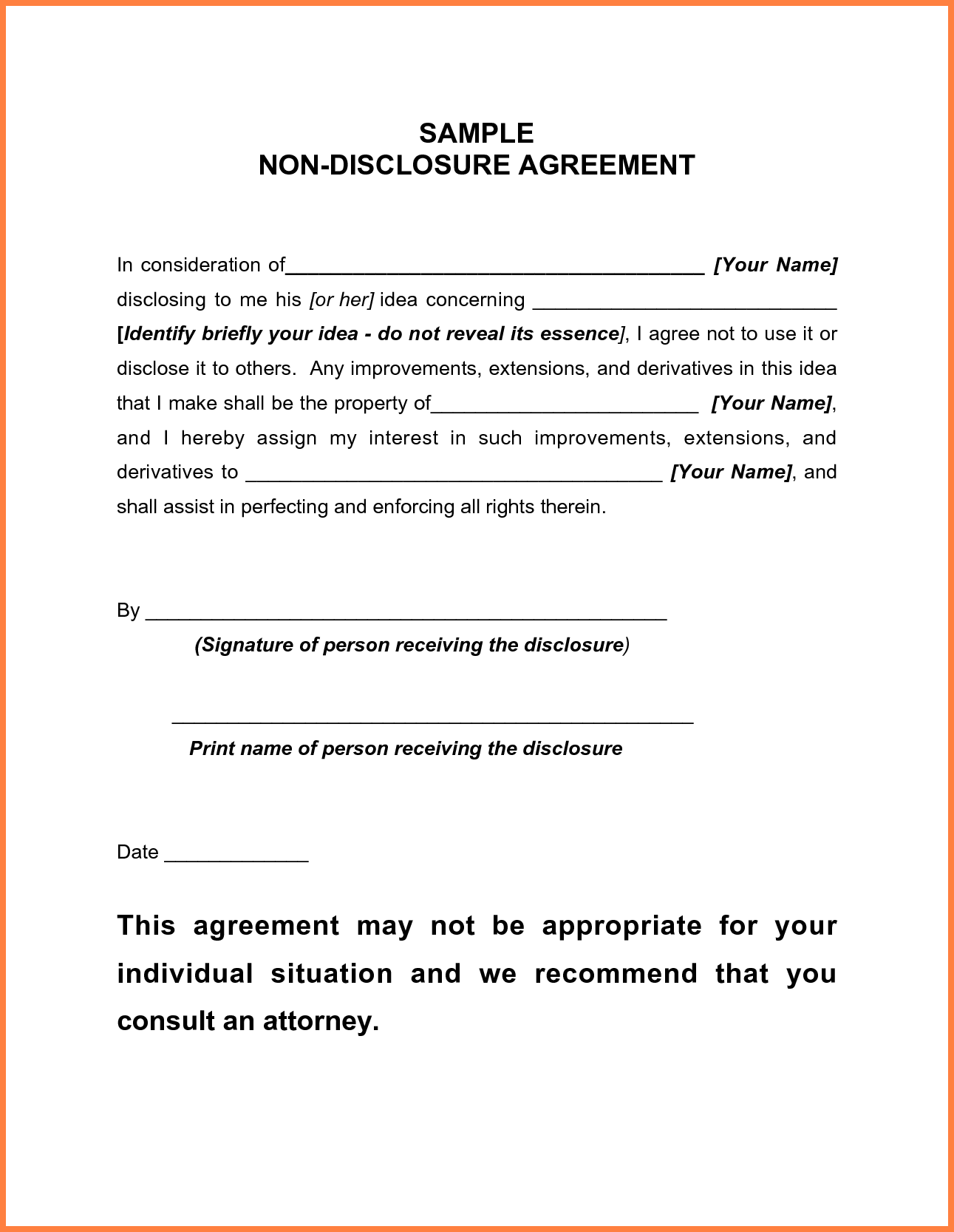 5+ standard non disclosure agreement template | Purchase Agreement
