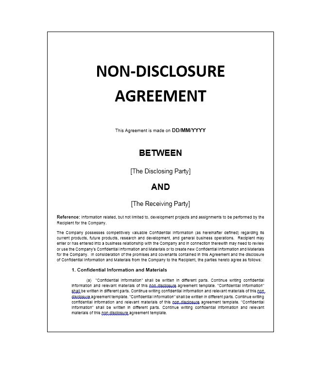 template non disclosure agreement 40 non disclosure agreement