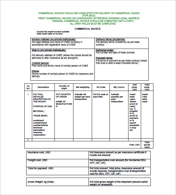blank commercial invoice template blank commercial invoice form
