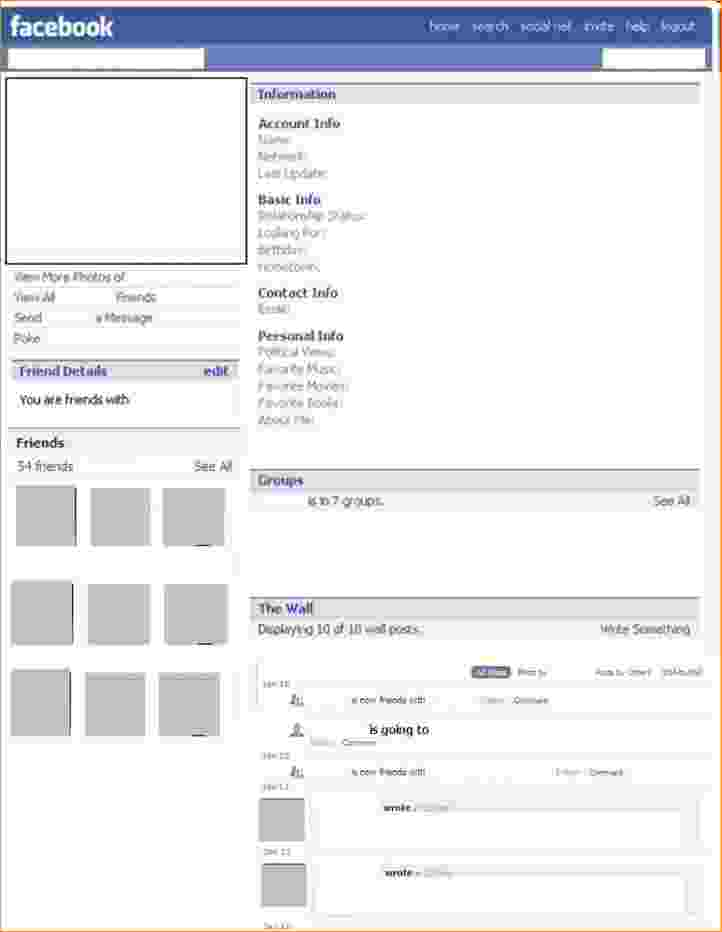 blank facebook template for students blank facebook template 11