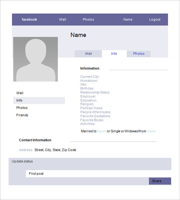 blank facebook template for students fakebook template for