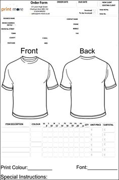 printable order form template others template blank t shirt order