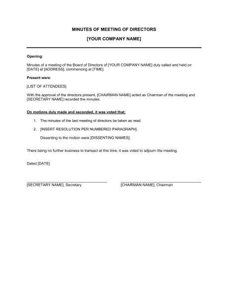 Minutes of Meeting of Directors   Template & Sample Form | Biztree.com