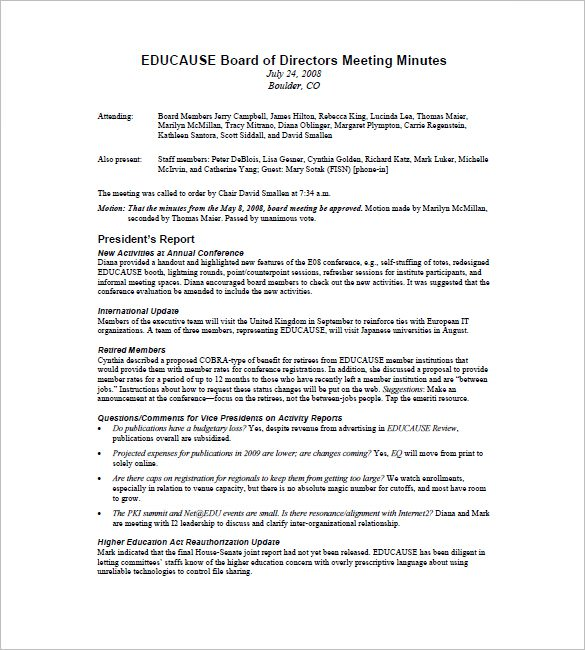 board of directors minutes of meeting template   Physic