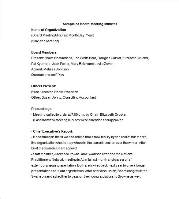 sample format of minutes of board meeting   Physic.minimalistics.co