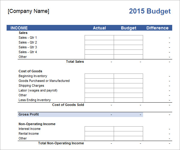 free blank expense budget spreadsheet templates for Business