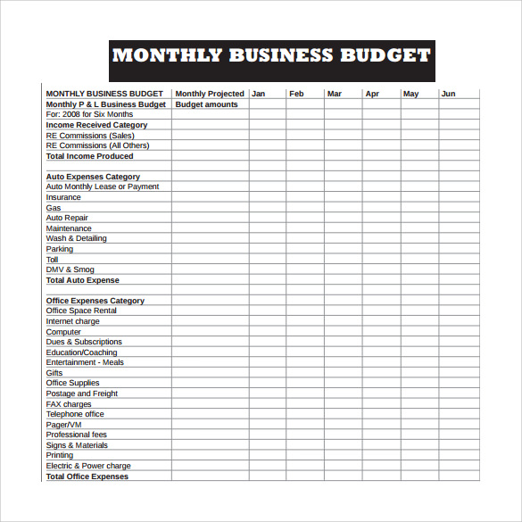 weekly business budget worksheet template PDF