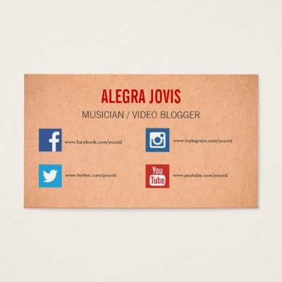 Business Card Template With Social Media Icons Zazzlecouk Business