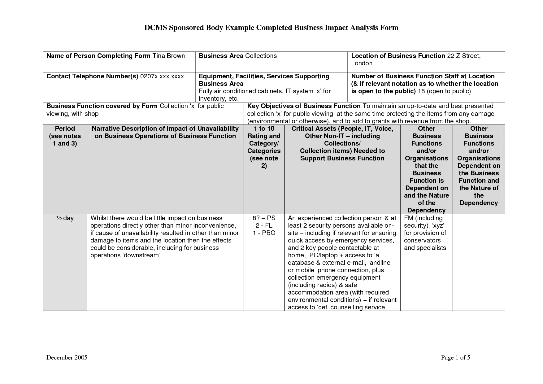 Analysis: New Business Impact Analysis Template. Business Impact