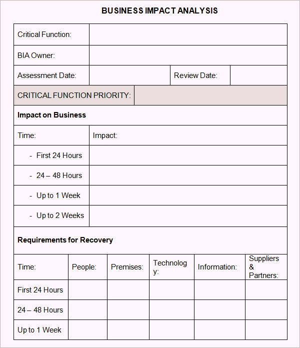 Business Impact Analysis Template | beneficialholdings.info