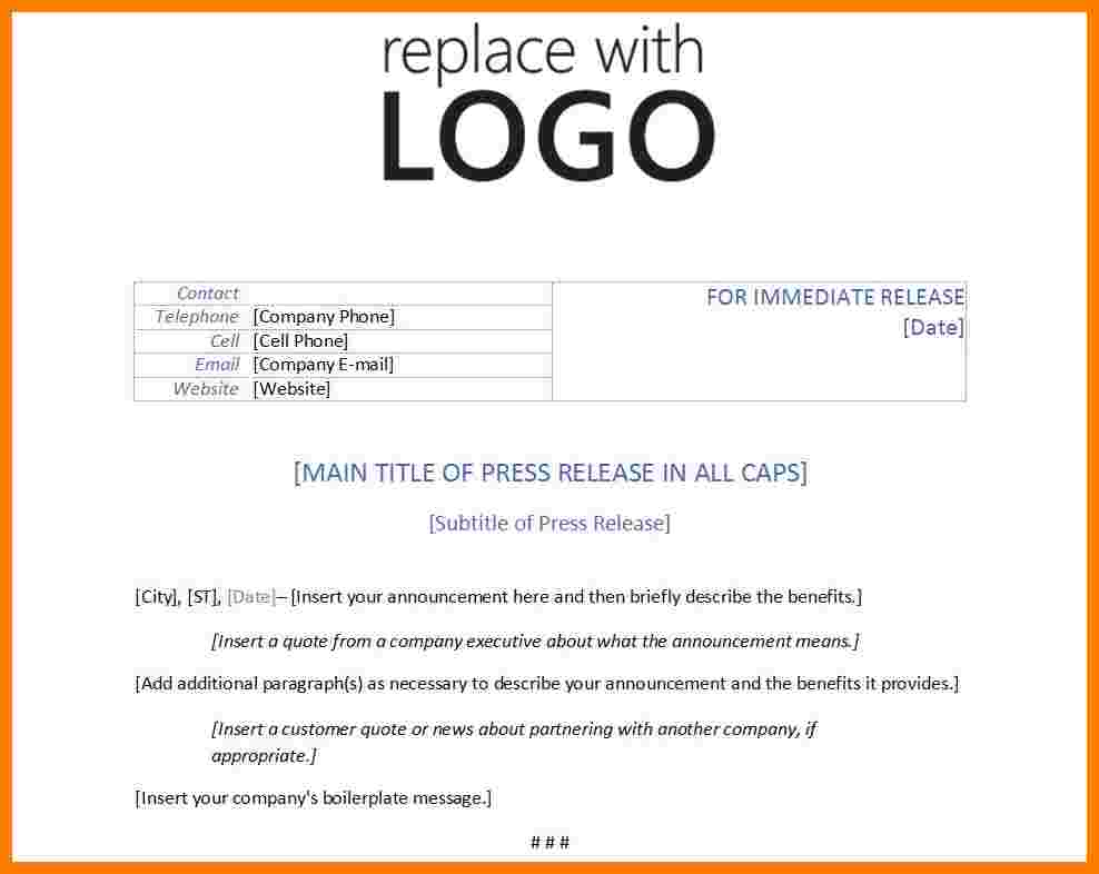 Press Release Email Template | beneficialholdings.info