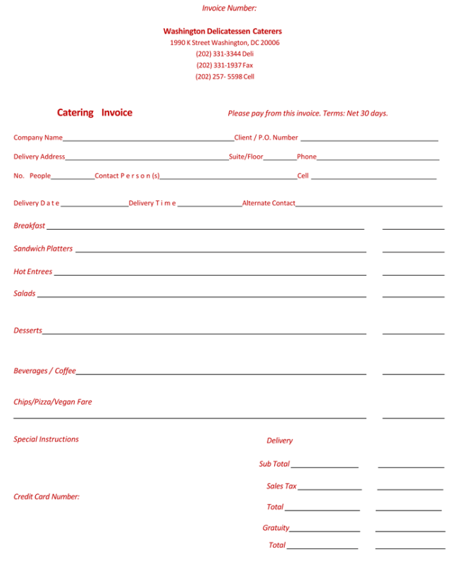 catering invoice template free catering service invoice template