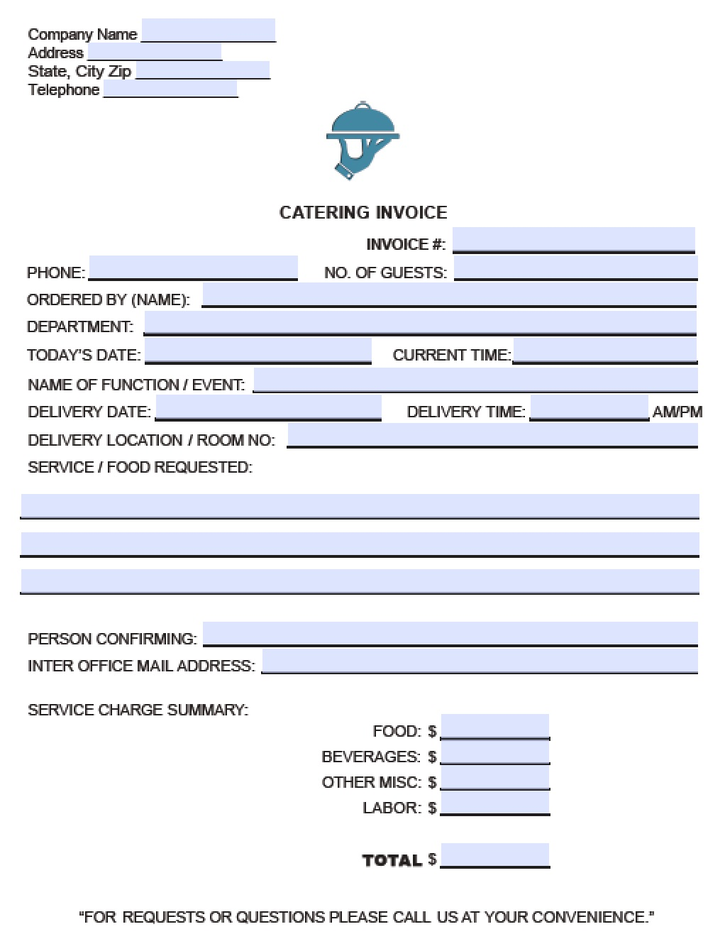 catering invoice sample   Physic.minimalistics.co