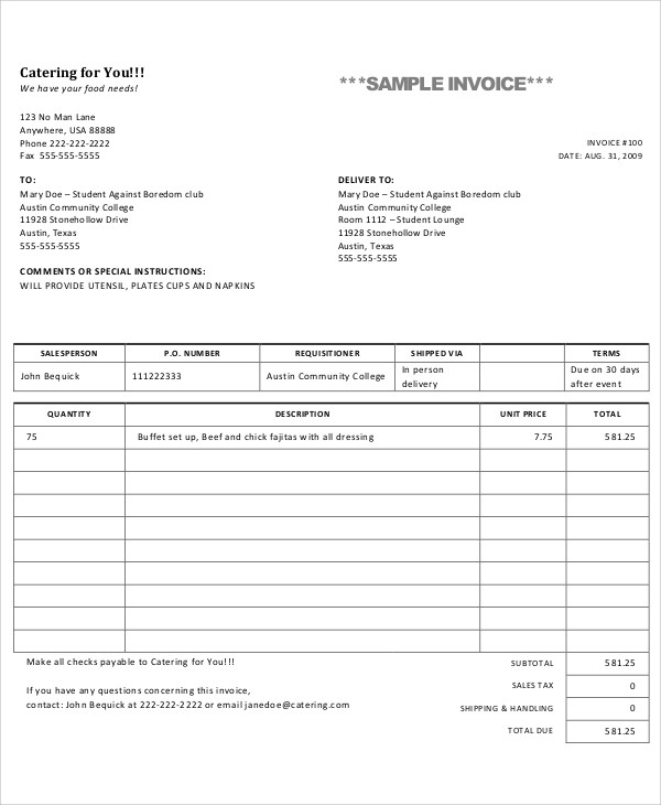 Free Catering Invoice Template For
