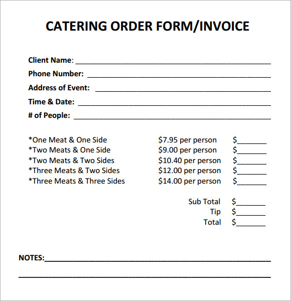 Free Catering Invoice Templates
