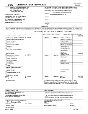 Csio Certificate Insurance Template   Fill Online, Printable