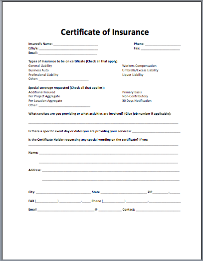 certificate of insurance template doc certificate of insurance