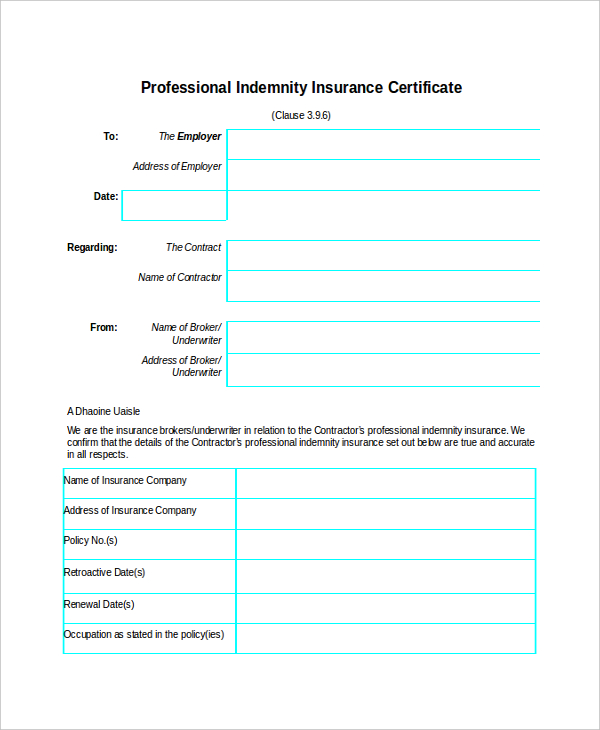 certificate of insurance template doc insurance certificate