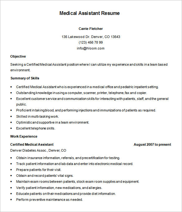 Medical Assistant Resume Template – 8+ Free Samples, Examples