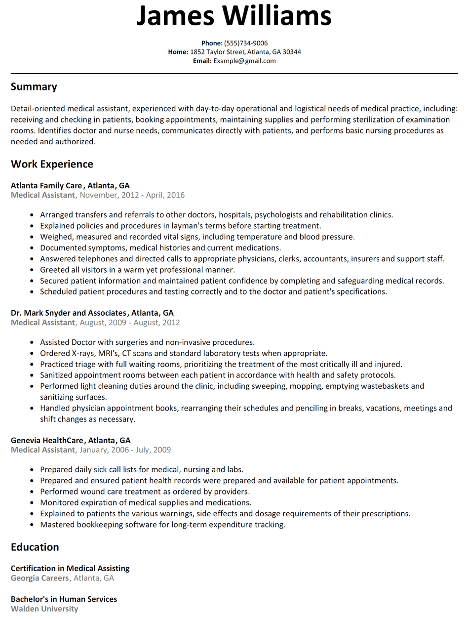 Medical Assistant Resume Sample   ResumeLift.com