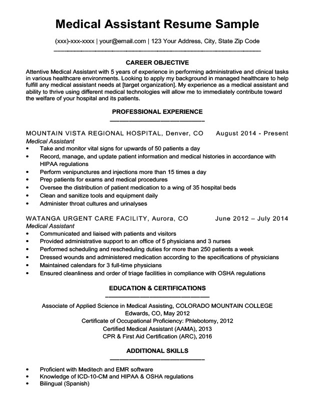 Medical Assistant Resume Sample | Resume Companion