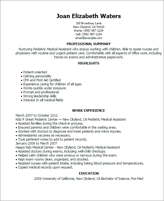 Pediatric Medical Assistant Resume Template — Best Design & Tips