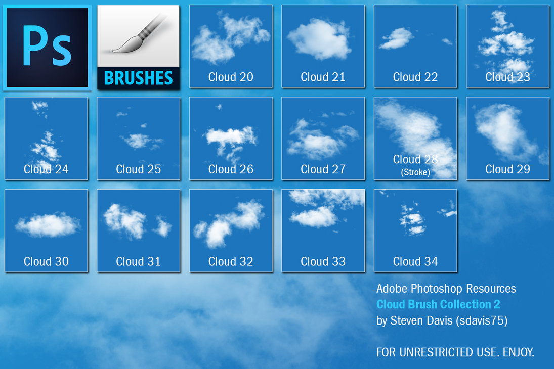 30 Real Cloud Brushes for Photoshop   Uplift Photoshop Actions
