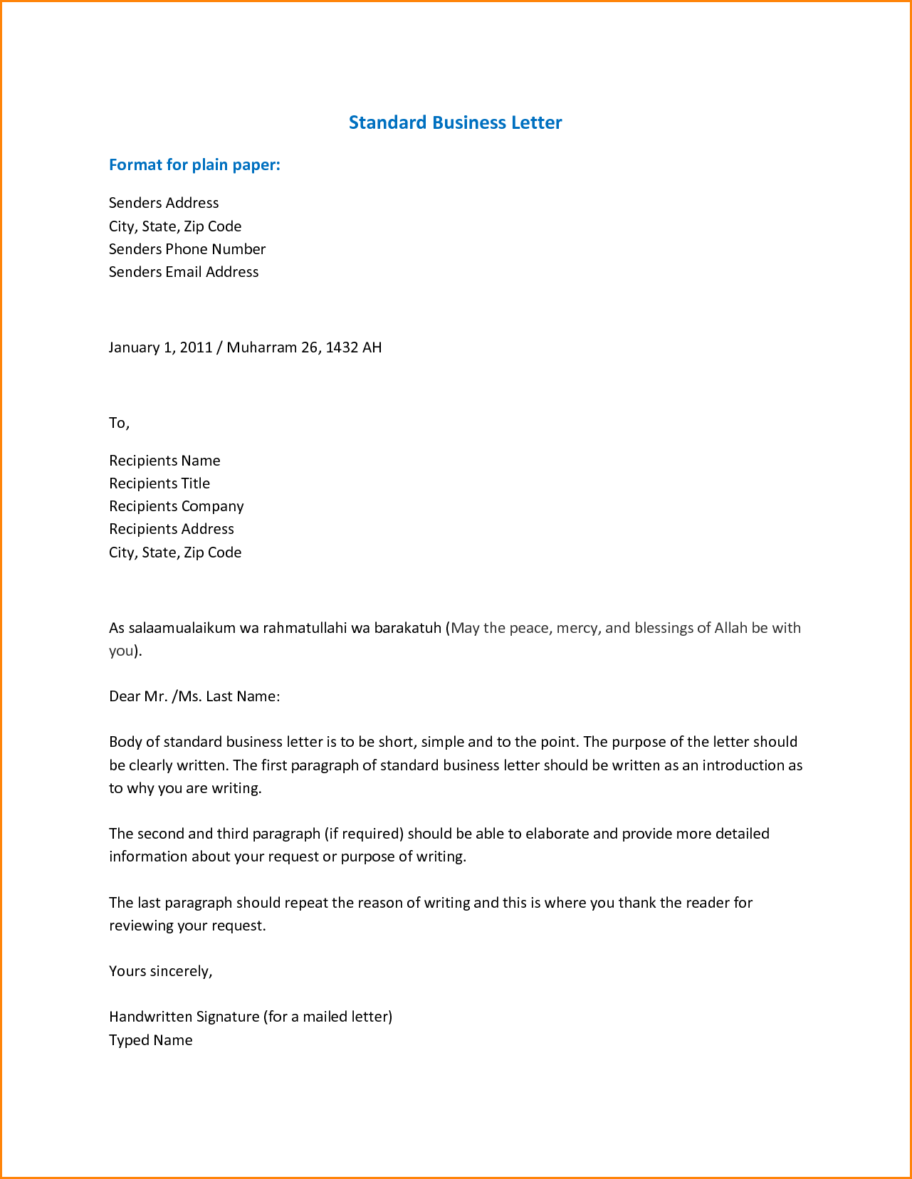 Formal Business Email Format Letter Spacing Guidelines Sample