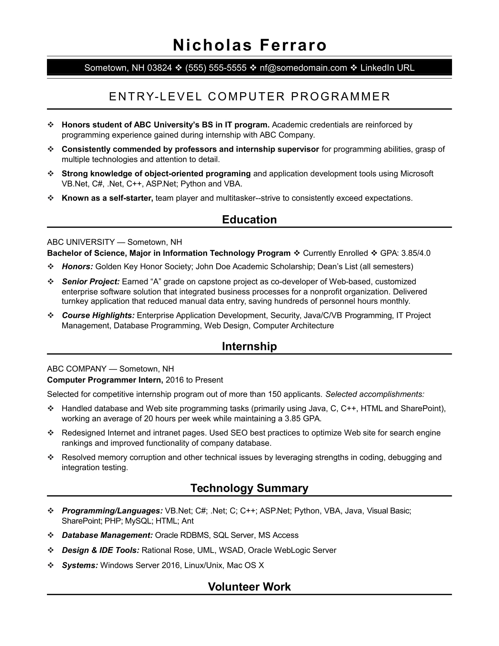 Sample Resume For An Entry Level Computer Programmer | Monster.com