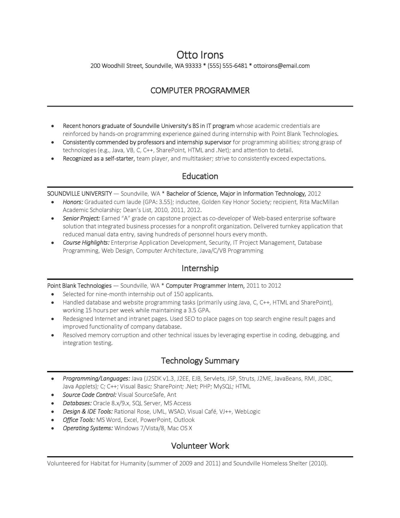 entry level computer science resumes   Manqal.hellenes.co