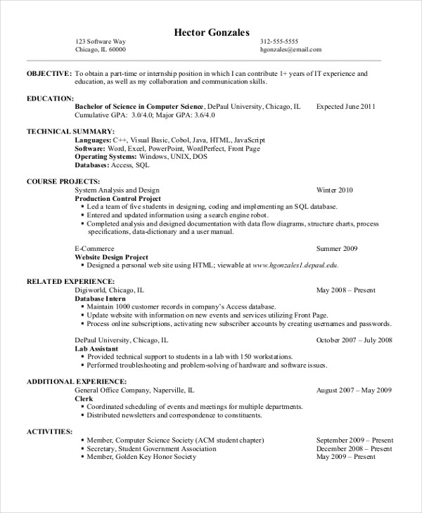 Computer Science Entry Level Resume Outstanding Resume Definition