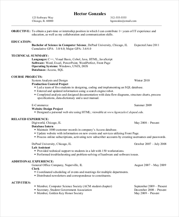 11+ Computer Science Resume Templates   PDF, DOC | Free & Premium