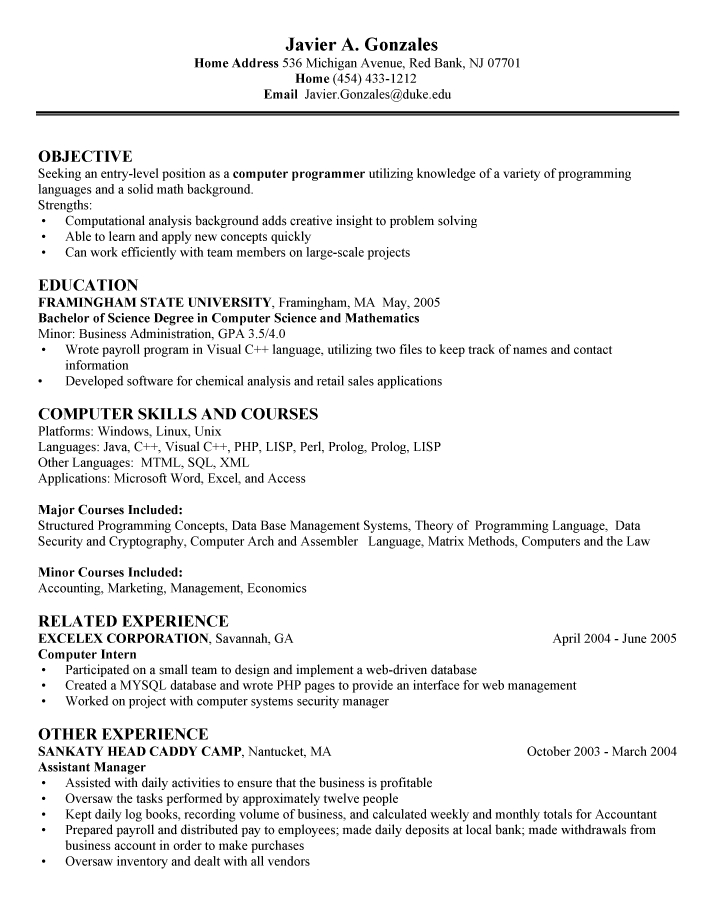 Amazing Entry Level Computer Science Resume 25 For Your Free