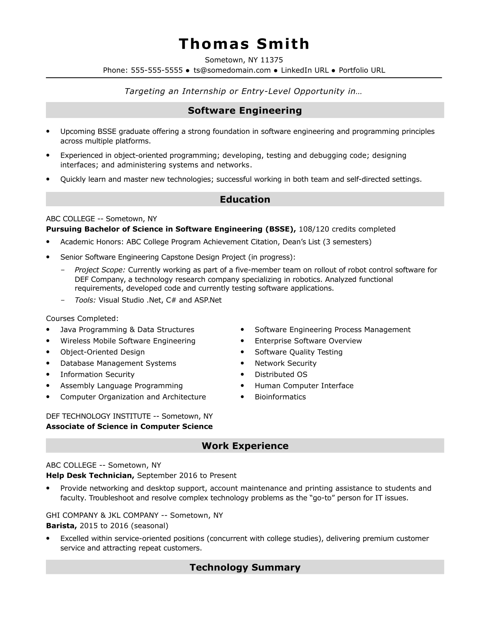 Entry Level Software Engineer Resume Sample | Monster.com